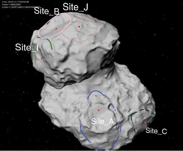 Possibili siti di atterraggio per la sonda Philae