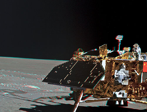 Chang'E 3 lander anaglyph by Yutu rover stereo color camera