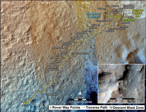 Curiosity traverse sol 528 Dingo Gap