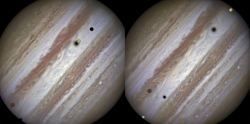 Europa, Callisto, Io, Amalthea, Thebe and Jupiter from Hubble Telescope January 24, 2015