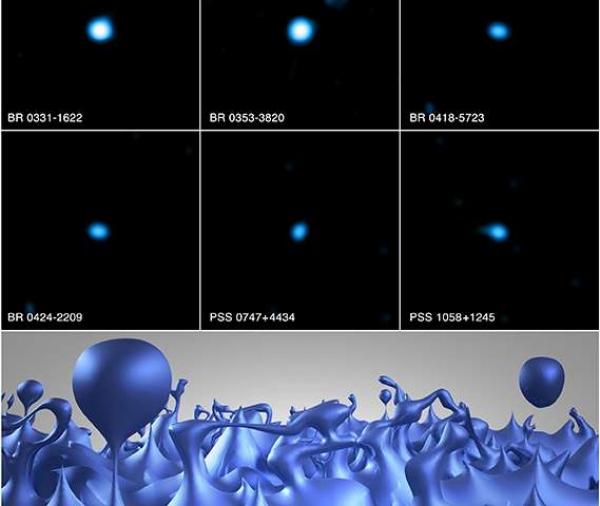 immagini dei quasar e rappresentazione artistica della schiuma spazio-temporale