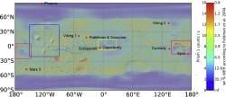La mappa globale di Marte, basata sui dati MOLA (Mars Orbiter Laser Altimeter) del Mars Global Surveyor (MGS), già riprocessata dagli autori per quanto riguarda l'indicazione della percentuale di acqua presente,in cui sono stati aggiunti i siti di atterraggio delle missioni spaziali. I riquadri che indicano le aree studiate in dettaglio: Tharsis Montes nel riquadro blu; Elysium planitia e Medusae Fossae in rosso; Meridiani Planum in giallo