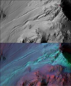 In alto un canalone marziano ripreso dalla fotocamera HiRISE, in basso lo stesso studiato con lo spettrometro CRISM.