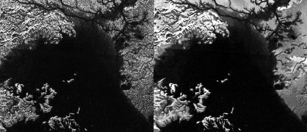 "Cassini Synthetic Aperture Radar (SAR), Ligeia Mare. A destra, l'immagine ""despeckling"""